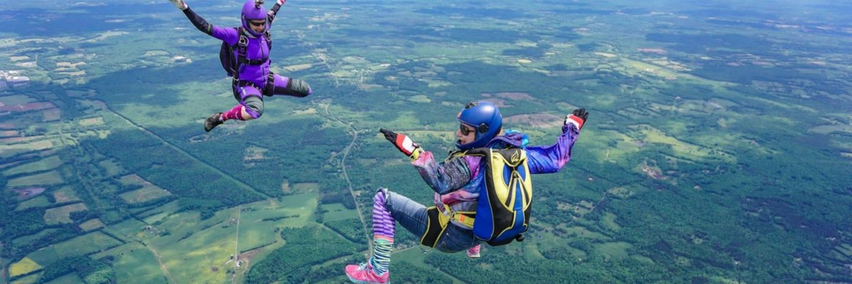 experienced skydivers in freefall