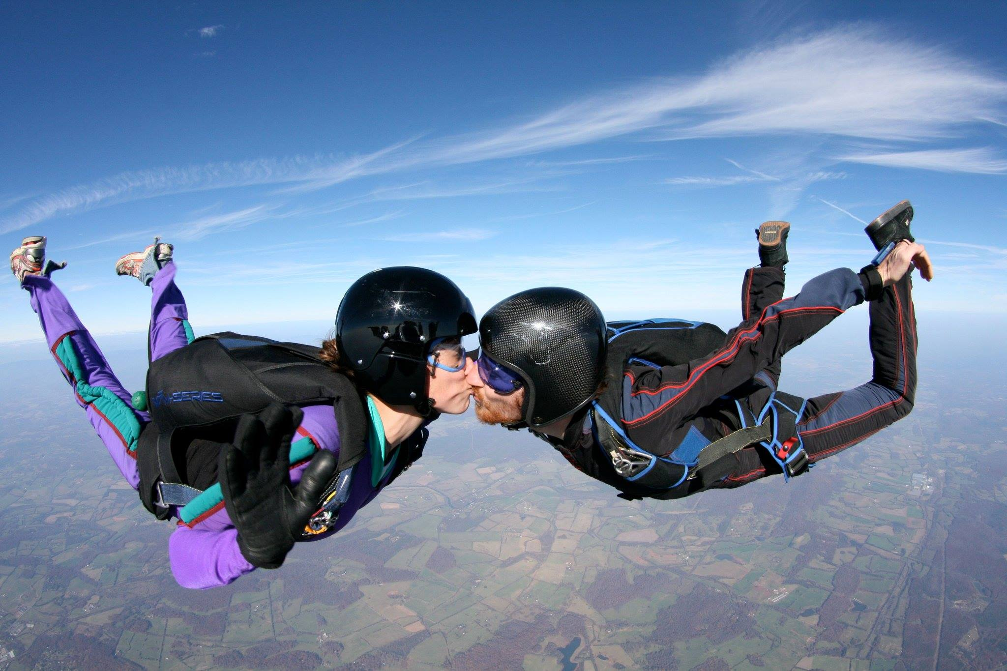 couple sky diving