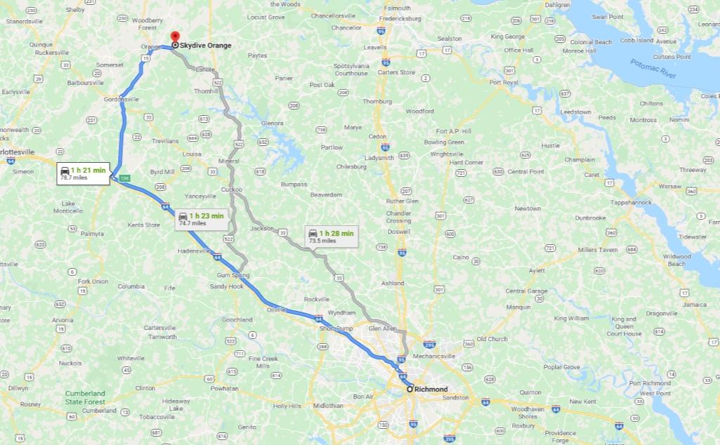 Map displaying proximity between Richmond, VA and Skydive Orange