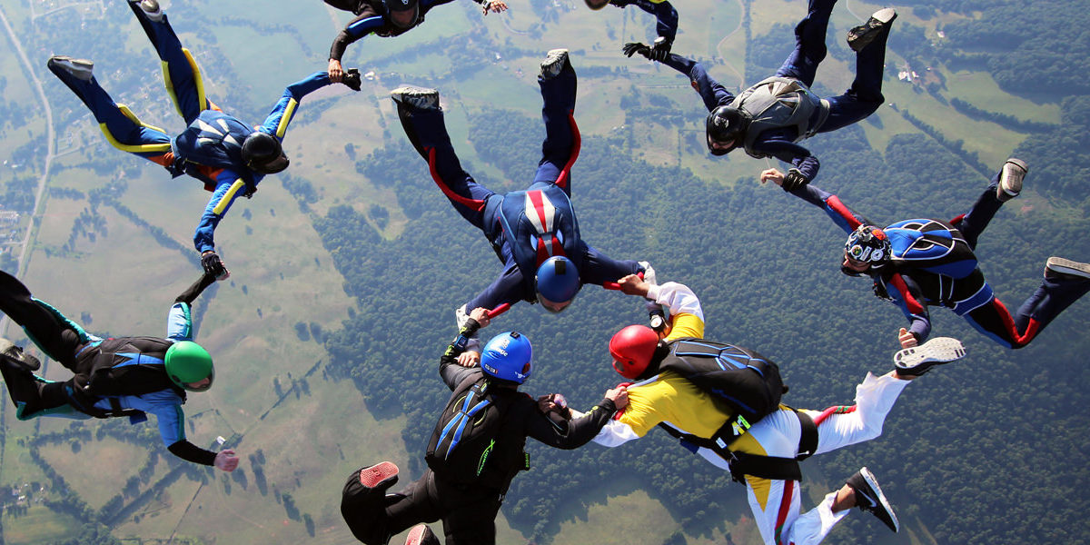 Experienced Skydiver Formation over Skydive Orange
