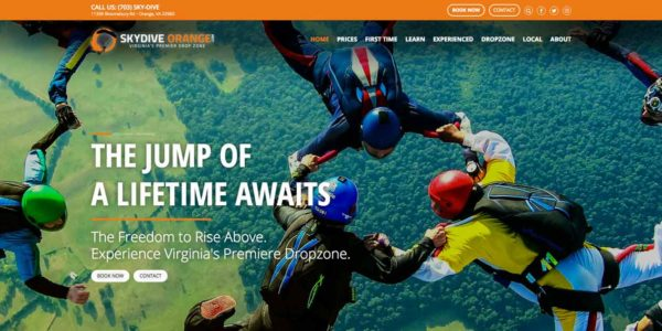 Website Home Page for Skydive Orange in Virginia