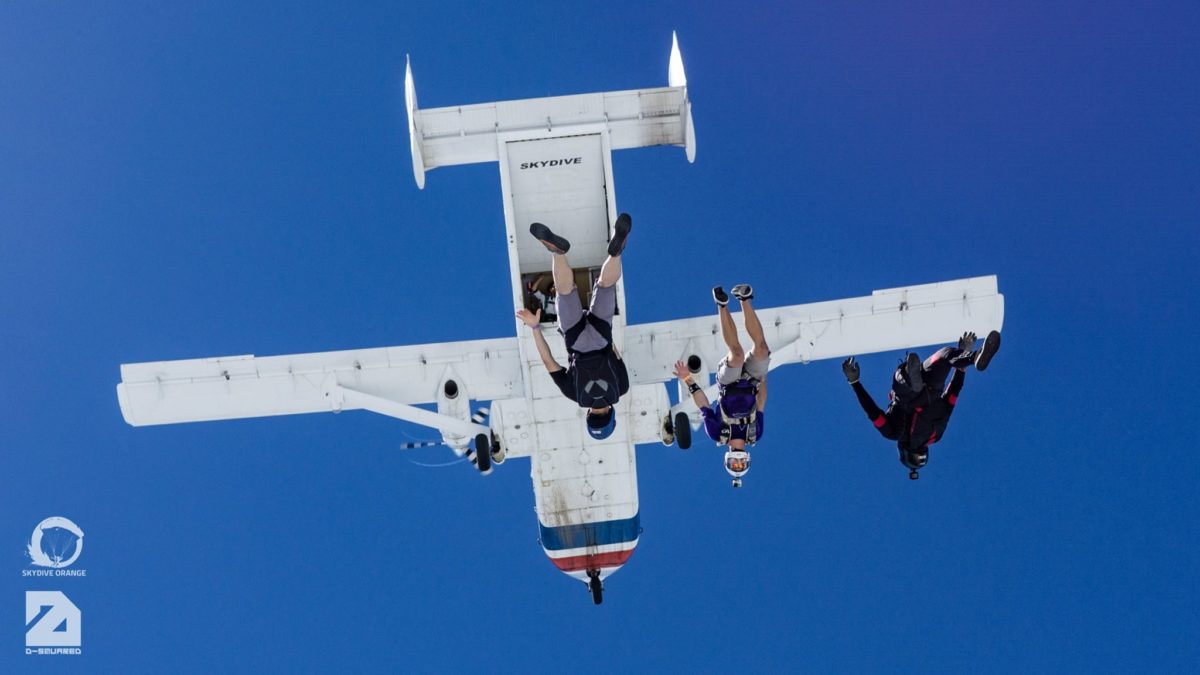 Exiting at 14,000 feet on a skydive