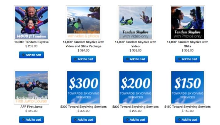 Skydiving Gift Card Options at Skydive Orange
