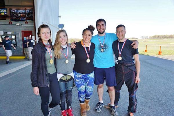 Skydiving Team Wearing Medals