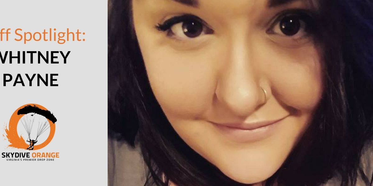 face of Whitney Payne, staff member of Skydive Orange