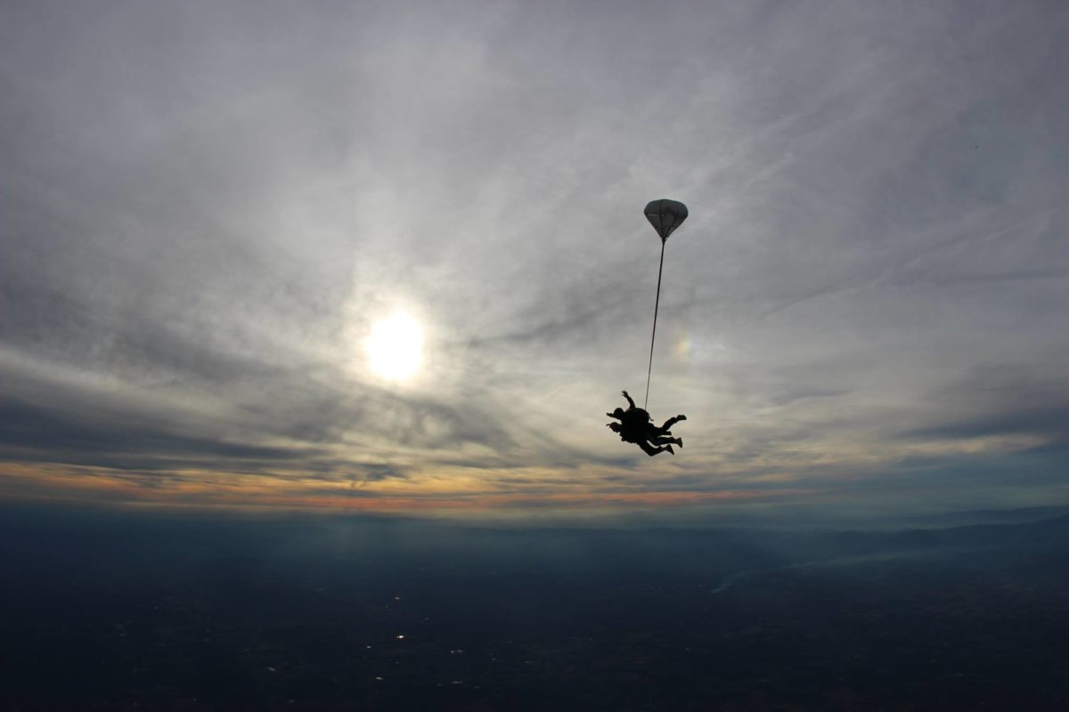 Skydiving from 14,000 feet at sunset