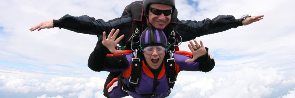 Tandem Skydiver in Freefall at Skydive Orange