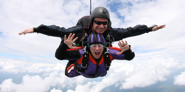 Tandem Skydiver in Freefall at Skydive Orange