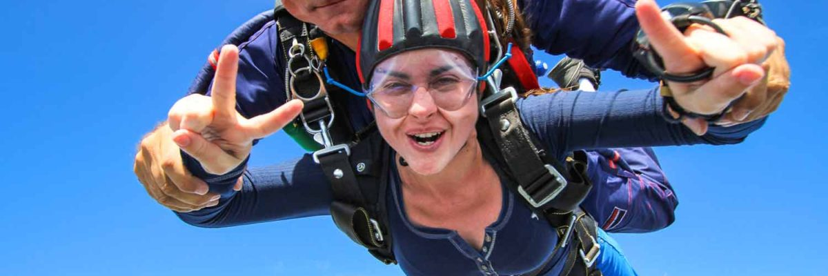 Happy Tandem Skydiving Student in Freefall