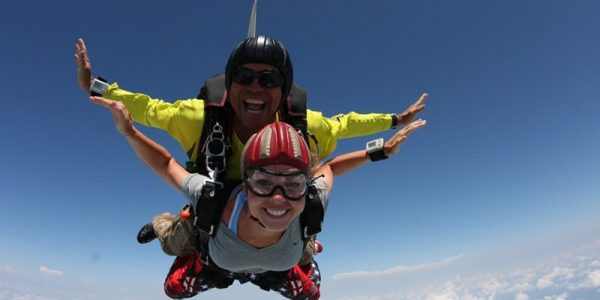Bobby Page in freefall over Skydive Orange