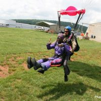 Tandem student landing at Skydive Orange in Virginia