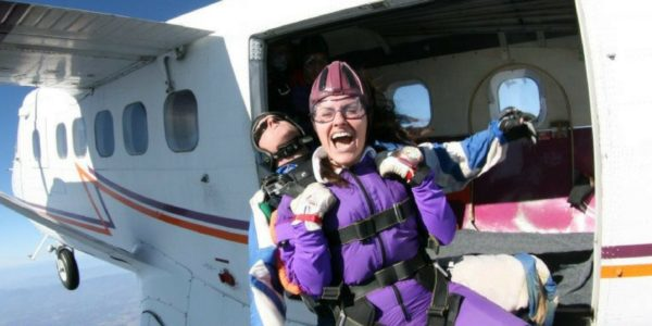 woman faces her fear of skydiving