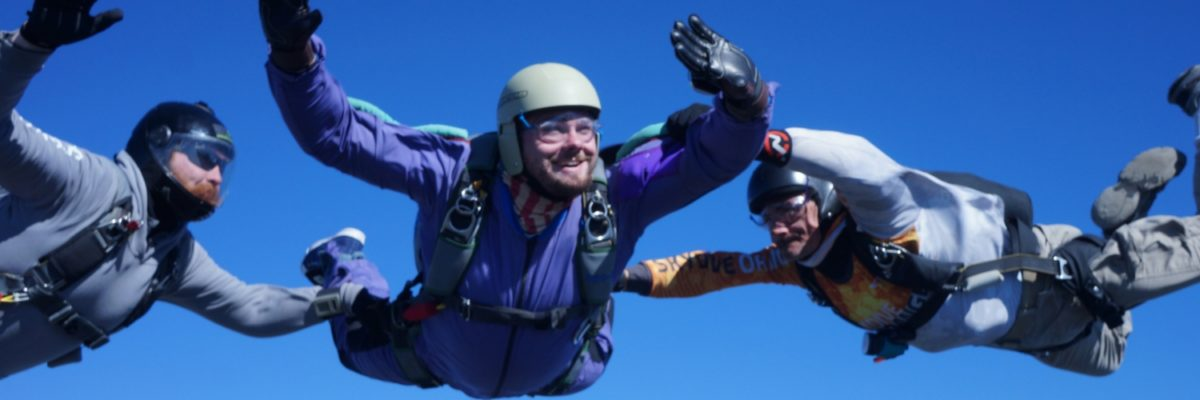 student makes first AFF jump towards skydiving license
