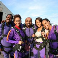 Group of friends before jump at Skydive Orange