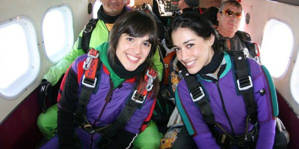 friends in skydiving airplane