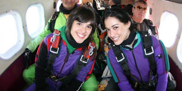 friends in skydiving airplane