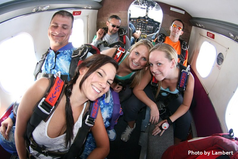 group in plane before skydive