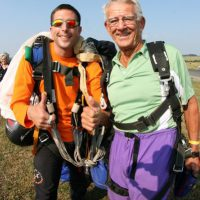tandem student and instructor in landing area at Skydive Orange in VA