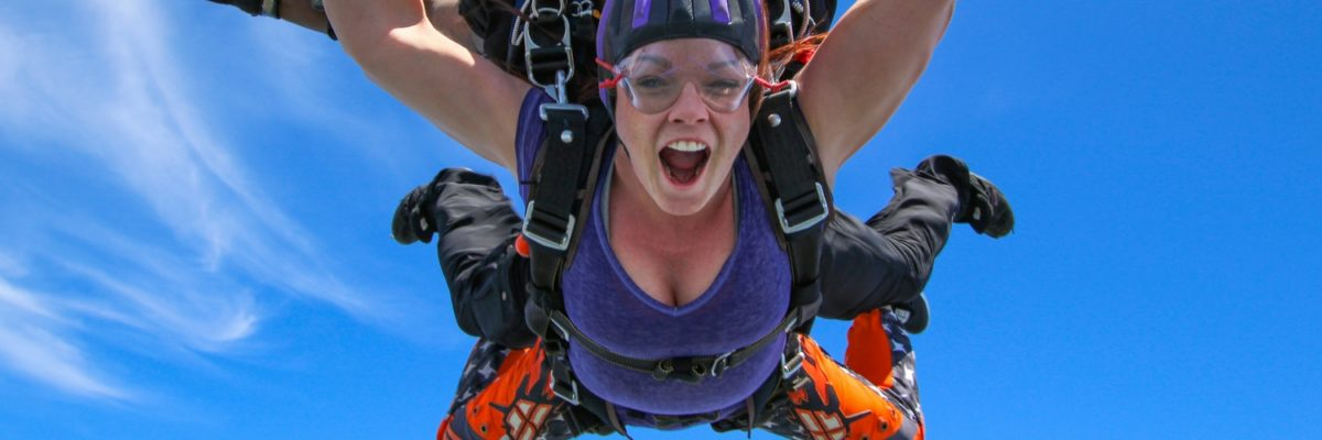 woman makes first jump at Skydive Orange