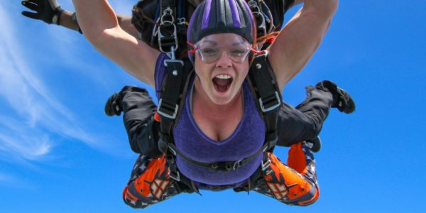 woman makes first jump at Skydive Orange