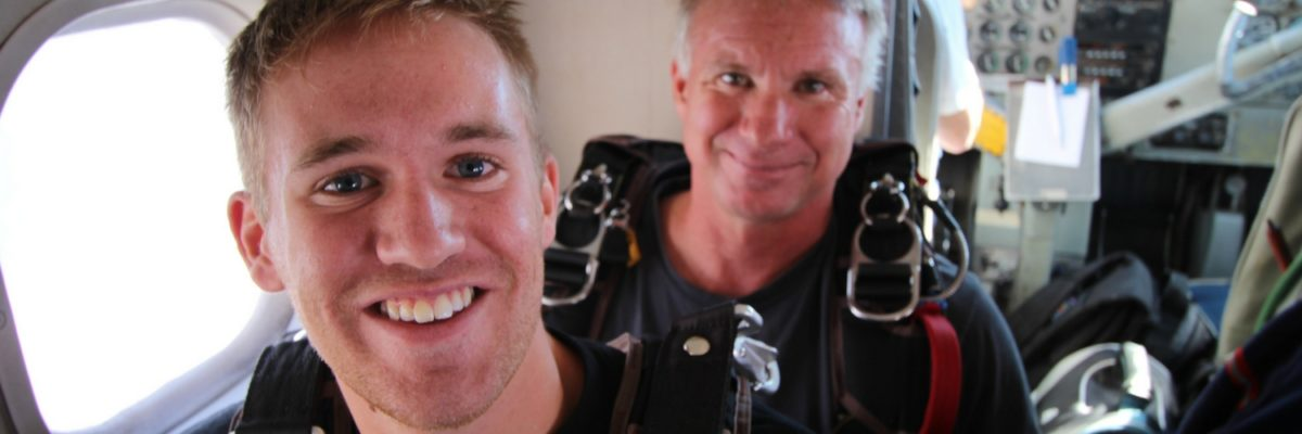 first time skydiver mentally prepares to jump