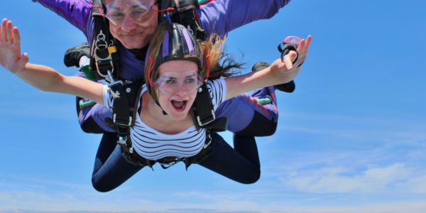 woman screams in skydiving freefall