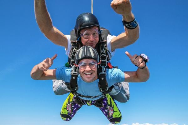 tandem student having fun skydiving