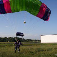 melissa coming in for landing after tandem skydive