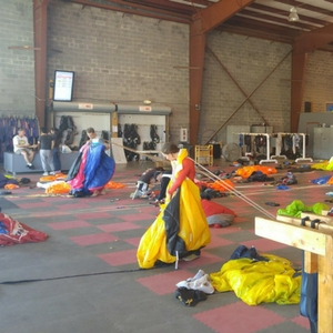 packing parachutes at skydive orange