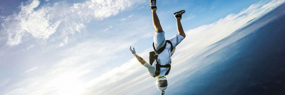 certified skydivers having fun in the sky