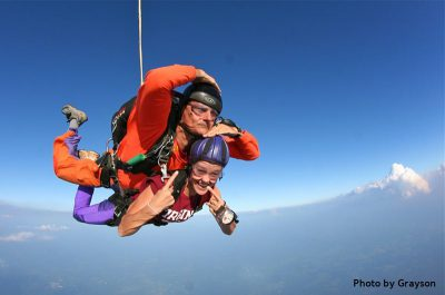 first time skydiver in freefall over Northern Virginia