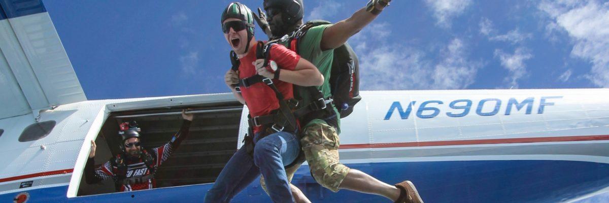 tandem skydiving in beautiful weather