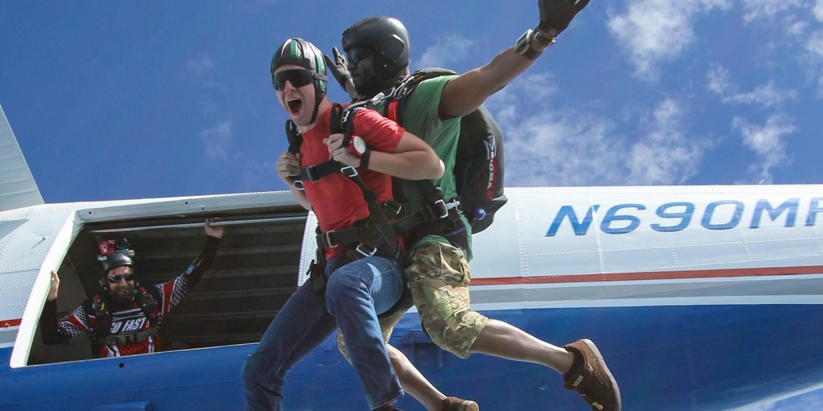 tandem skydiving in beautiful weather