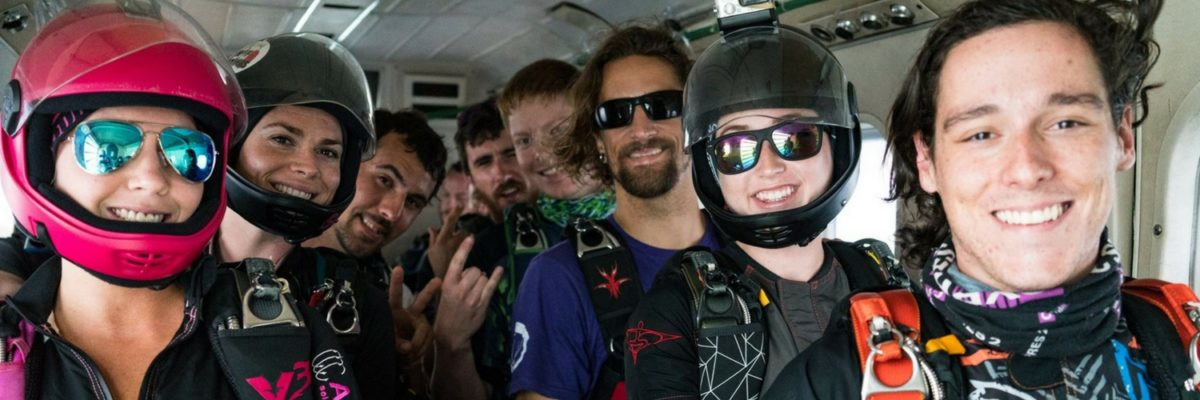 experienced skydivers on plane pre-jump