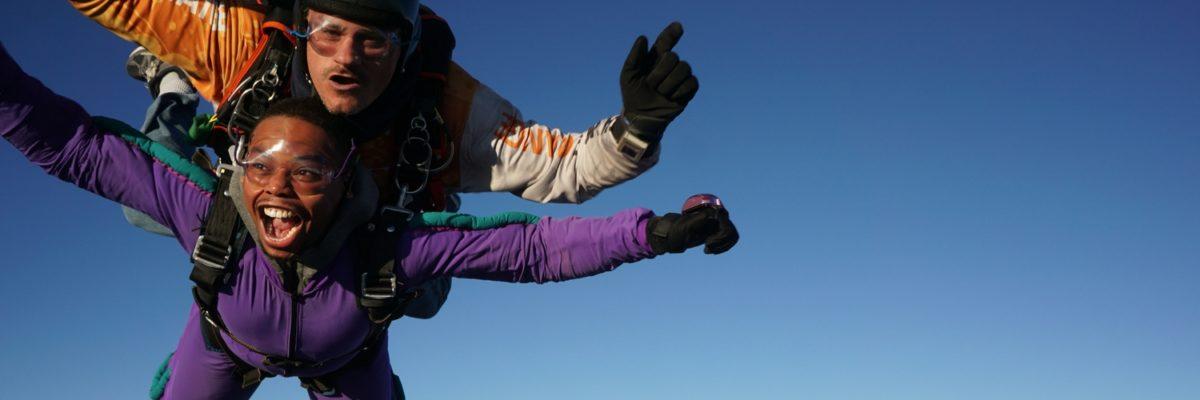 Skydiving guest from Morgantown, West Virginia in freefall