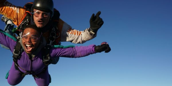 Skydiving guest from Morgantown, West Virginia in freefall