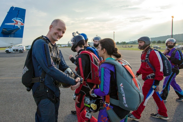 jumpers getting ready to board jump plane