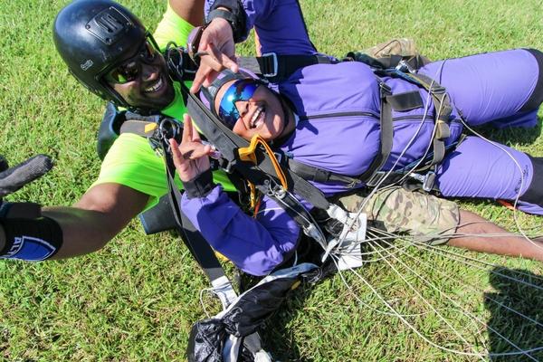 tandem skydiving student that just landed