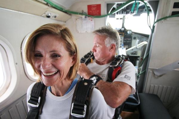 older woman goes skydiving