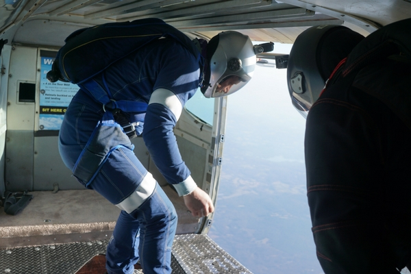 new skydiver about to make solo jump