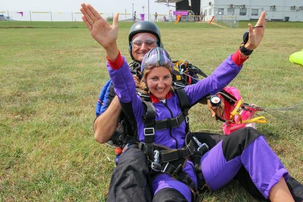 tandem skydiving student after landing