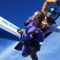 west virginia skydiving guest in freefall at Skydive Orange