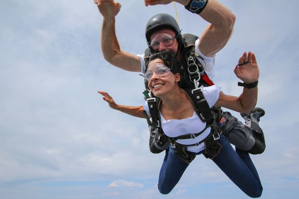 student experiences feeling of skydiving freefall