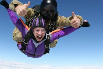 first time skydiver wears jumpsuit