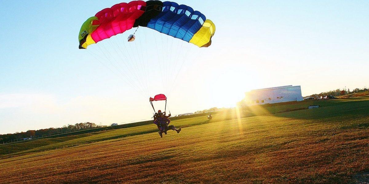student lands in open landing area at skydive orange